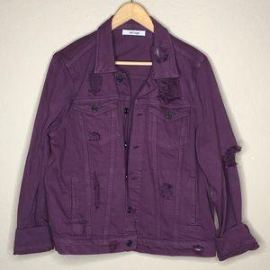 Women's plum colored distressed jean jacket Sz L